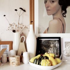 Portrait and vases
