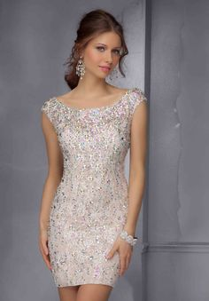 Prom or homecoming Dresses, Celebrity Dresses, Evening Gowns - PromGirl: Short Beaded Dress with Open Back Hoco Dresses, Trendy Dresses, Tight Dresses, Dance Dresses, Homecoming Dresses, Cute Dresses, Beautiful Dresses, Bridesmaid Dresses, Formal Dresses