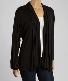 Another great find on #zulily! Black Open Cardigan - Plus #zulilyfinds