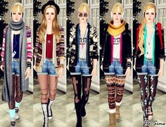 JS Sims 3: [JS SIMS 3] Layered Cardigan Outfit Set (Outerwear)