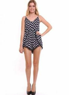 Black and White Sleeveless Printed Romper,  Other, black  white  printed  romper, Chic #black #white #printed #playsuit #romper #cute #fashion #style #ootd #obsessed #love #adore www.UsTrendy.com