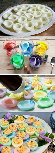 colored deviled eggs    http://www.foodjimoto.com/2011/04/easter-eggs.html