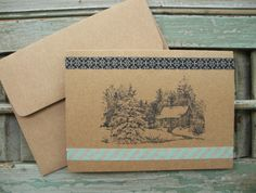 Handmade Christmas Note Cards, blank holiday card, thank you card, brown kraft note card, hand stamped cards, handmade cards, set of 5