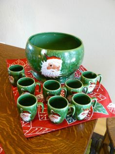 Vintage Lefton Napco era Christmas Santa Punch set 8 cups, bowl, ladle