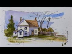 Start to finish Line and Wash painting of Houses and Trees. speed painting, fun, quick and easy. With Peter Sheeler. Watercolor Video, Pen And Watercolor, Watercolour Tutorials, Watercolor Techniques, Watercolor Landscape, Art Techniques, Landscape Art, Watercolour Painting, Painting & Drawing