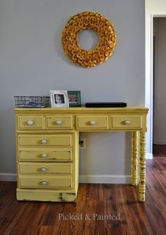 Picked & Painted: General Finishes Milk Paint: Buttermilk Yellow Desk
