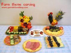 farm theme fruit carving