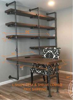5 Tiers L-Shape Desk and Shelve Laptop DeskSolid W. 5 Tiers L-Shape Desk and Shelve Laptop DeskSolid Wood & Iron Home Office Space, Home Office Design, Office Room Ideas, Office Designs, Loft Design, Office Spaces, Playroom Ideas, Design Design, Diy Home Decor