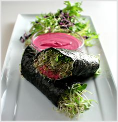 The idea is not to roll a tight sushi-type Pink Nori Sprout Rolls. It can be rolled fairly loosely and enjoyed as a wrap rather than in small bites. Raw Vegan Recipes, Vegan Vegetarian, Diet Recipes, Healthy Recipes, Freezer Recipes, Vegan Raw, Freezer Cooking, Delicious Recipes, Cooking Tips