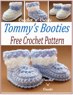 Tommys Crochet Booties - I have added these cute booties to my free tommy's collection, made in light worsted yarn (double knitting for UK) they are quick to crochet and will be a lovely gift at baby showers etc.Pattern is below in USA and UK formats. Crochet Pattern Free, Baby Booties Free Pattern, Crochet Patterns, Baby Bootie Crochet Pattern, Baby Frock Pattern, Crochet Baby Boots, Booties Crochet, Crochet Baby Clothes, Baby Blanket Crochet