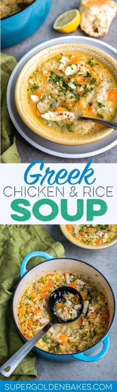 Restorative Greek lemon, chicken and rice soup. A simple soup that's perfect for a light lunch or if you are nursing a cold.