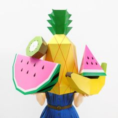 Giant Tropical Fruit Paper Sculpture Kit - DIY Paper Craft Template Posters to make summer party decor, photo props and paper toys