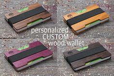 Personalized Wood wallet Custom Minimal wooden slim wallet