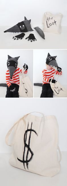 bandit wolf costume with money (trick-or-treat) bag