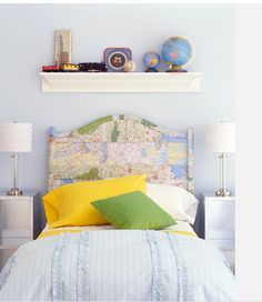 "Map Headboard - if I ever get to do that ""travel"" themed bedroom I want"