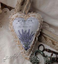 Lněné srdíčko Provence