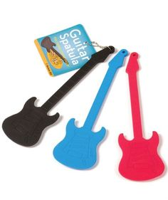 Red Guitar Spatula - Serve up some pure rock n' roll deliciousness with this guitar spatula. Perfect for eggs, pancakes, or the Elvis special – fried peanut butter and banana sandwiches.  The Guitar Spatula is 50% rock, 50% roll and 100% silicone and completely dishwasher safe.  Crank up the heat, crank... - #Guitar, #Red, #Spatula  - http://wp.me/p2Sdif-4Ff