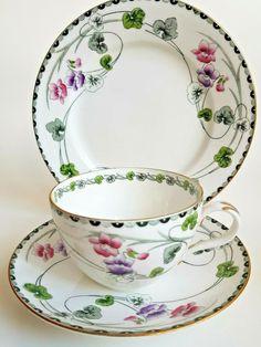 Art nouveau china tea cup, bute shape, saucer and tea plate. Tea Sets Vintage, Vintage Cups, Vintage Dishes, Cup And Saucer Crafts, Art Nouveau, English Teapots, Bone China Dinnerware, Cherry Kitchen, Fantasy