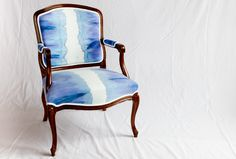For sale: vintage Louis arm chair reupholstered with handmade purple and blue tie dye fabric. #custom #reupholstery #tiedye #ombre #handmade #louischair #vintage #toronto
