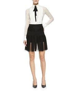 Long-Sleeve Silk Blouse with Black Tie & Pleated Lace Overlay Skirt by J. Mendel at Bergdorf Goodman.