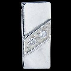 Silver pendant, CZ, rectangle Silver pendant, Ag 925/1000 - sterling silver. With stones (CZ - cubic zirconia). Rectangle. Intersected by a diagonal band featuring zircons set in pave. The stones are set, not glued! Shiny surface. Dimensions approx. 20x9mm. Wear on a thin chain (chain passes through a hole in the pendant itself  there is no loop).