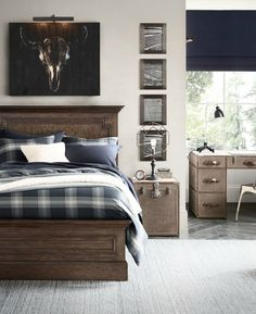 Classic décor and sported-themed accents make for a timeless boy's bedroom