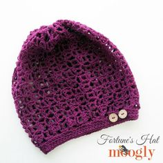 Fortune's Hat - free crochet pattern by Tamara Kelly at Mooglyblog. There's a matching shawlette and wrap linked.