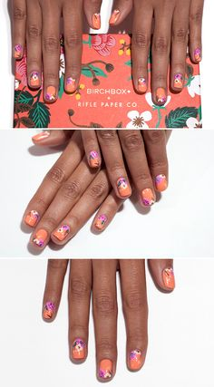 Follow this step-by-step tutorial to wear this whimsical floral pattern—inspired by April's Rifle Paper Co. Birchbox design—on your fingertips!