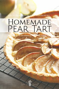 This pear tart recipe uses fresh pears and a few pantry staples to make a sweet, fruity, deliciously simple dessert completely from scratch. A simple, frugal, tasty way to use up some pears when they're abundant and in season! Fresh Pear Recipes, Recipes Using Fruit, Tart Recipes, Pear Tart Recipe Easy, Homemade Cheesecake, Homemade Desserts, Healthy Desserts, Easy Desserts, Candy Stations