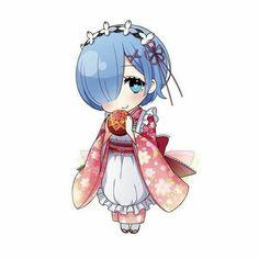 Rem (Re: Zero - Starting Life In Another World) Anime Chibi, Kawaii Anime, Anime Girl Neko, Chibi Girl, Kawaii Chibi, Cute Chibi, Manga Anime, Anime Art, Anime Girls