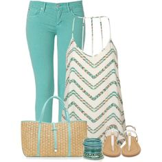 Mint Skinny Jeans & Accessories fashion summer fashion mint accessories sandals skinny jeans