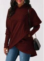 Wine Red Asymmetric Hem Long Sleeve Pocket Hoodie | Rosewe.com - USD $32.13