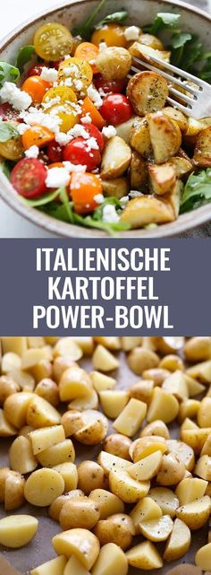 Power Bowl with Garlic Olive Oil Dressing - Cooking Carousel - Italian Potato Power Bowl with Garlic Olive Dressing. This simple recipe is packed with rocket, tom -Potato Power Bowl with Garlic Olive Oil Dressing - Cooking Carousel - . Veggie Recipes, Lunch Recipes, Pasta Recipes, Salad Recipes, Vegetarian Recipes, Chicken Recipes, Dinner Recipes, Healthy Recipes, Potato Recipes