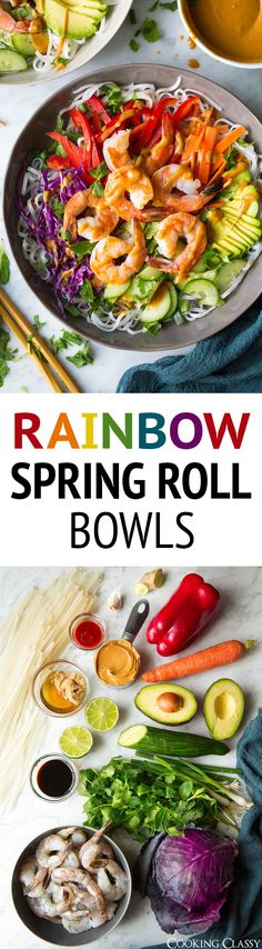 These seriously tasty Rainbow Spring Roll Bowls with Peanut Sauce are boasting with bright and rich flavors and a beautiful array of colors. Then add shrimp or chicken to the mix to make them that much more filling. I just can't get enough of these bowls! Seafood Recipes, Vegetarian Recipes, Dinner Recipes, Cooking Recipes, Healthy Recipes, Sushi Recipes, Rice Recipes, Spring Roll Bowls, Spring Rolls