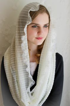 "Evintage Veils~ ""Our Lady of Knock""**  Ivory Mantilla Chapel Veil Traditional Catholic"