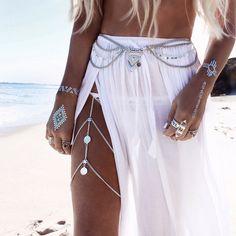 chaîne de corps argentée en forme de ceinture pour les robes et les longues jupes