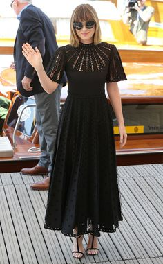 Dakota Johnson from 2015 Venice Film Festival: Star Sightings  The actress makes a sartorial statement in this compelling black dress.