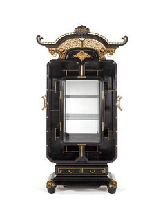 An important ormolu-mounted ebonised Brazilian rosewood vitrine cabinet after a design by Edouard Lièvre, Paris, late c. Asian Furniture, Chinese Furniture, Art Furniture, Furniture Plans, Arabesque, Lion Mask, Art Nouveau, Chinese Symbols, Aesthetic Movement