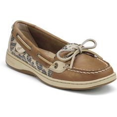 Sperry Women's Angelfish Linen/Leopard Sequin Performance Boating... ($90) ❤ liked on Polyvore featuring shoes, leopard shoes, sequin shoes, patterned shoes, wide shoes and boat shoes