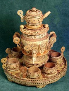 Beautiful Samovar and tea cups made from birch bark, pure state of art!