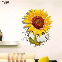 Zipi New 3D Sunflower Real Wall Clock Stickers Home Decor Children Bedroom  Wall Watch Mute Living