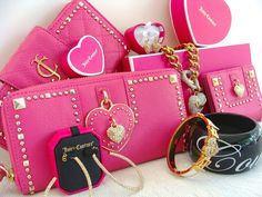 Juicy Couture Pink Leather Heart Wallet  Juicy Couture Iconic Pave Jewelry