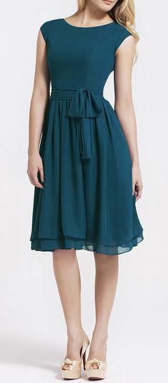 Cap Sleeve Chiffon Dress