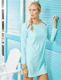 Our versatile cover up dress delivers striking sophistication with two fuchsia shoulder zippers, long sleeves and an allover aqua stripe print. Sun Protective Clothing, Nautical Fashion, Nautical Style, Traditional Fashion, Beach Dresses, Women's Dresses, Bikini, Swim Dress, Casual Street Style