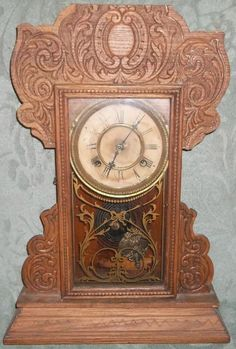 Antique Gilbert Gingerbread Kitchen Mantle Clock Lion