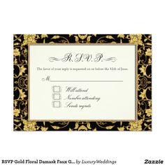 RSVP Gold Floral Damask Faux Glitter Wedding