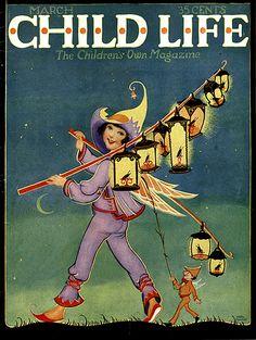 Child Life Magazine 'The Children's Own Magazine' March, Cover by Illustrator Hazel Frazee Vintage Children's Books, Vintage Magazines, Vintage Posters, Vintage Art, Life Cover, Vintage Fairies, Life Magazine, Magazine Art, Magazines For Kids