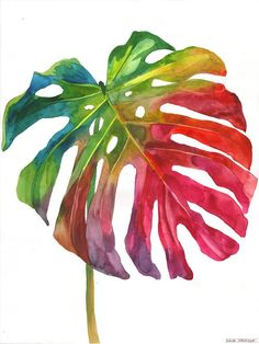 This is my original watercolor painting. Painted with watercolors on Fabriano Gamma Gamma paper ONLY ONE AVAILABLE. It will be carefu. Watercolor Leaves, Watercolor Paintings, Botanical Illustration, Watercolor Illustration, Arte Sketchbook, Plant Painting, Tropical Art, Arte Floral, Leaf Art