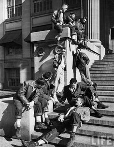 "The Hangout: ""Teenage boys hanging out on the steps of building"", Iowa, 1948 (via LIFE) lostsplendor"