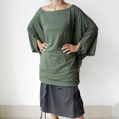 Ladies Blouse in Green,Unique Styling Poncho,Jersey Spandex. Thaisaket etsy Not the skirt!